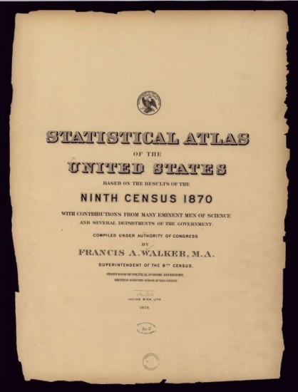 Statistical Atlas of the 9th US Census (1870) now online