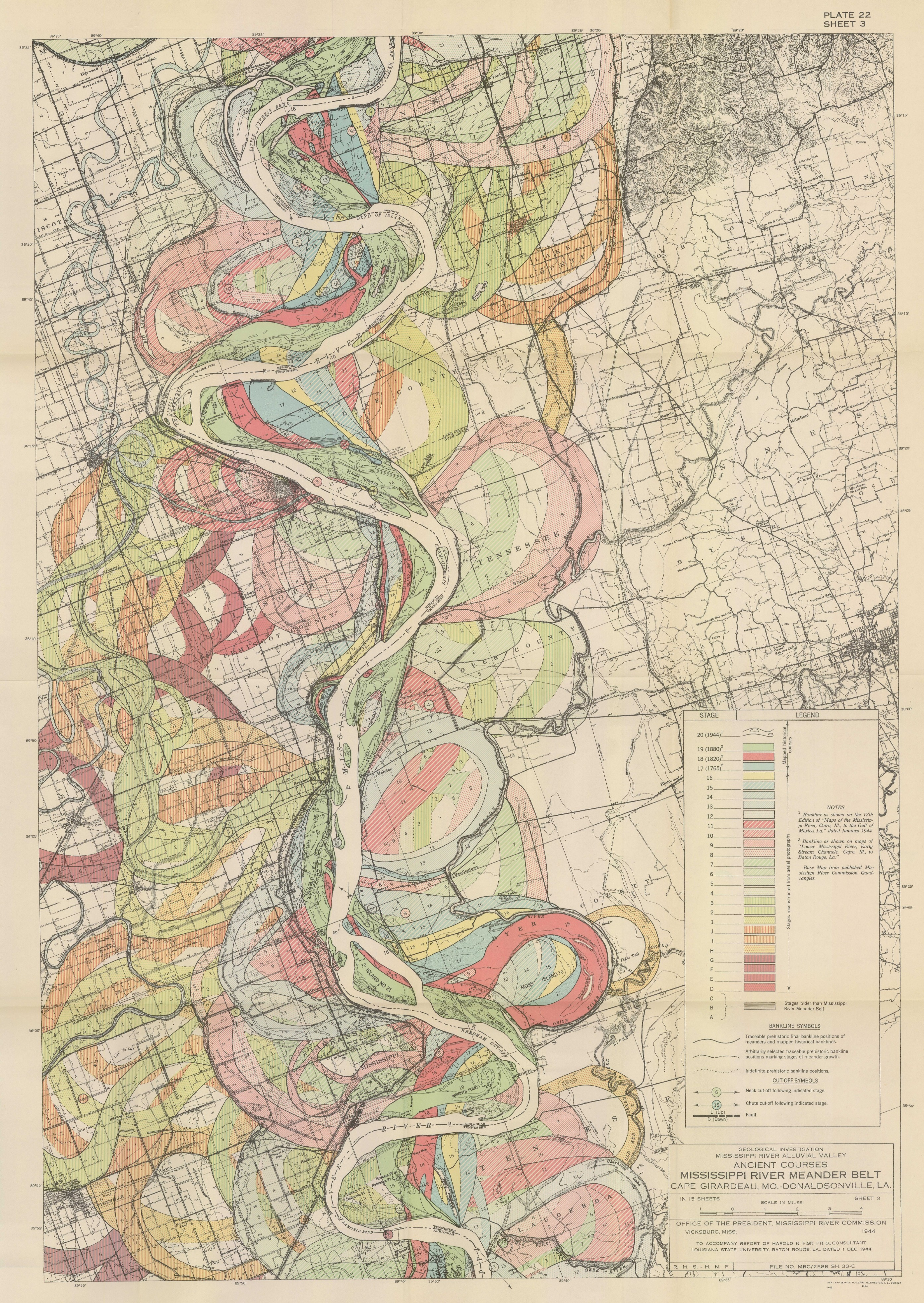 1944 Map Mississippi River Meander Belt Alluvial Valley Harold Fisk Sheet 9